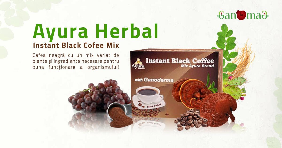 cafea neagră cu Ganoderma și ginseng