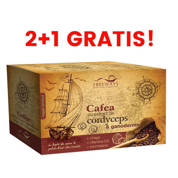 cafea terapeutica cu extract de cordyceps si ganoderma 2 cu 1 gratis